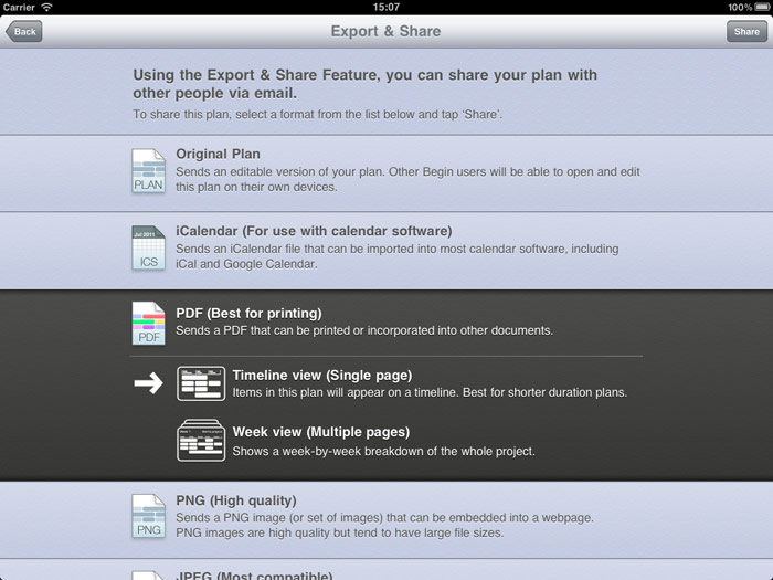 Picture of Begin's new Export & Share dialog
