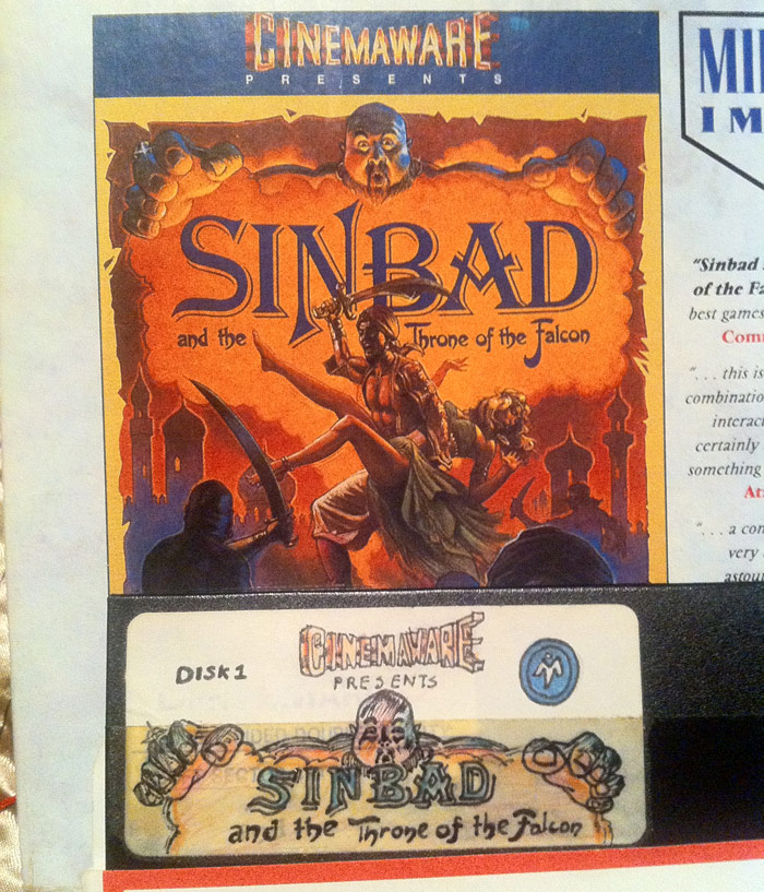 Picture of Cinemaware's Sinbad box and the author's own label for his backup disk